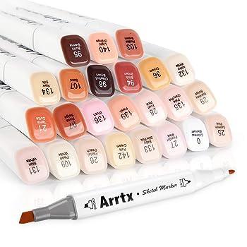 Arrtx 24 Colors Skin Tone Dual Tip Marker Set