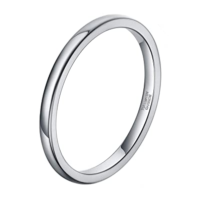 2mm 3mm 6mm Silver Tungsten Wedding Ring Band For Women Men Simple