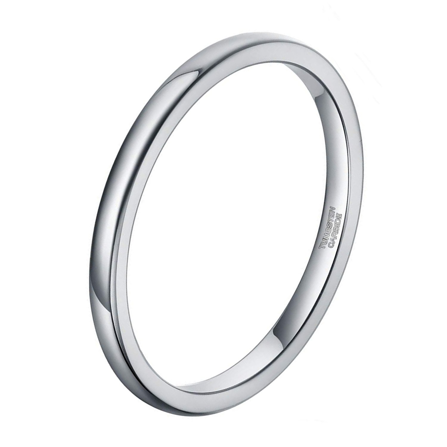 2mm Wedding Band for Women Silver Tungsten Carbide Ring Slim Plain Dome Style Comfort Fit Size 11