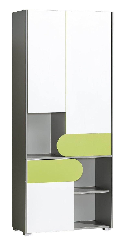 SMARTBett Armadio Futuro con 3 Ante, Colore: Verde/Bianco Brillante/Antracite SMARTBett GmbH