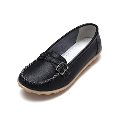 fisca Womens Buckle Moccasins Loafer Flat Shoes Black ...