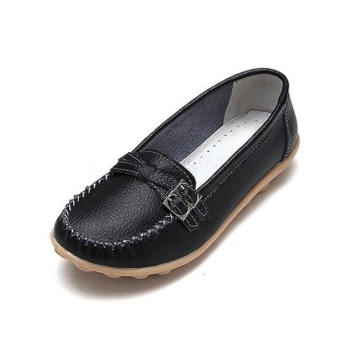Fisca - Mocasines de Piel para Mujer Negro Negro: Amazon.es: Zapatos y complementos