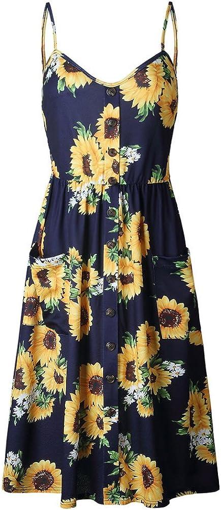 Hosamtel Women Dress with Pockets Button Summer Casual Sleeveless Sunflower Floral Print Swing Long Maxi Dress Sundress