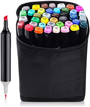 Marker Pen Set Dual Tips Art Sketch Twin Marker Pens Highlighters With Carrying Case For Painting Coloring Highlighting And Underlining Comic Selection 40 Color Amazon Ca Office Products
