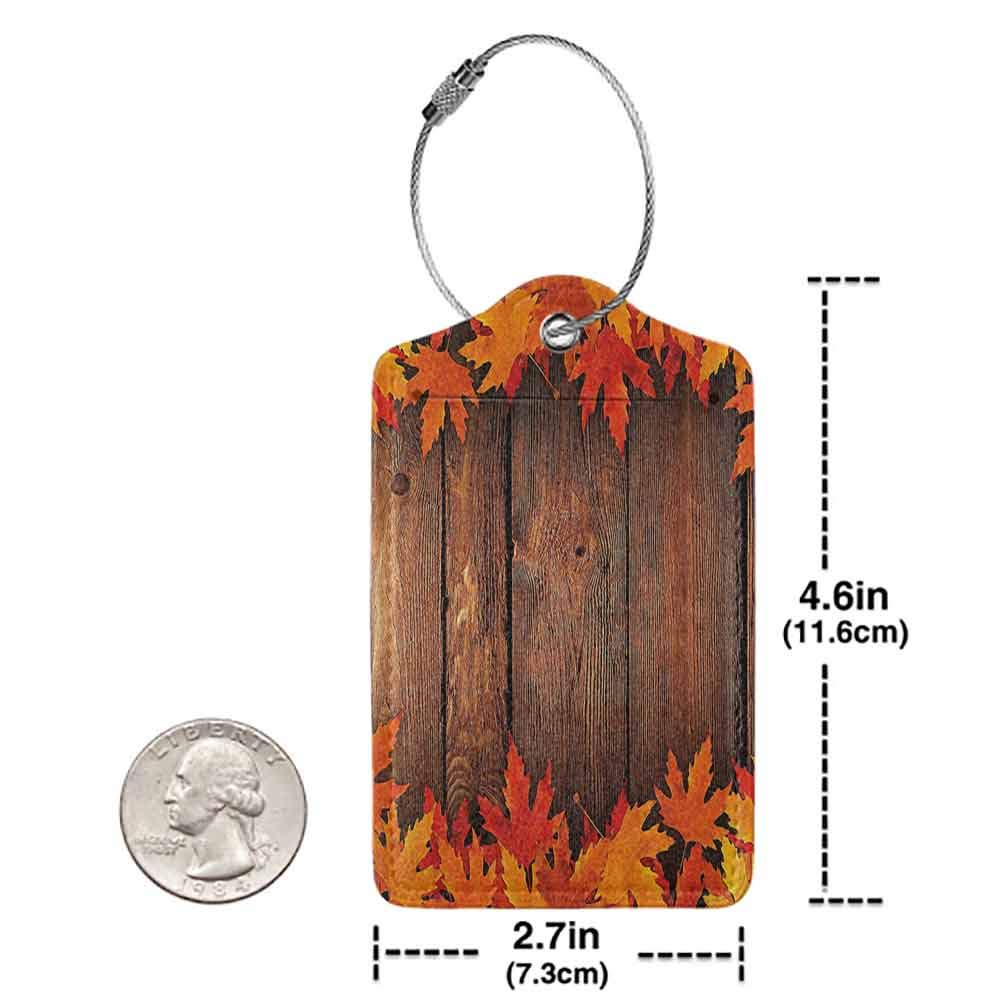 Small luggage tag Fall Dry Leaves Poured Onto Wooden Board Cabin Cottage Rustic Country Life Theme Print Quickly find the suitcase Brown Orange W2.7 x L4.6