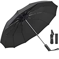 Umbrella,JUKSTG 12 Ribs Auto Open/Close Windproof Umbrella, Waterproof Travel Umbrella,Portable Umbrellas with Ergonomic…