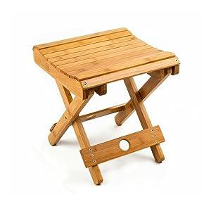 "URFORESTIC 100% Natural Bamboo Folding Stool for Shaving Shower Foot Rest 12"",Fully Assembledl"