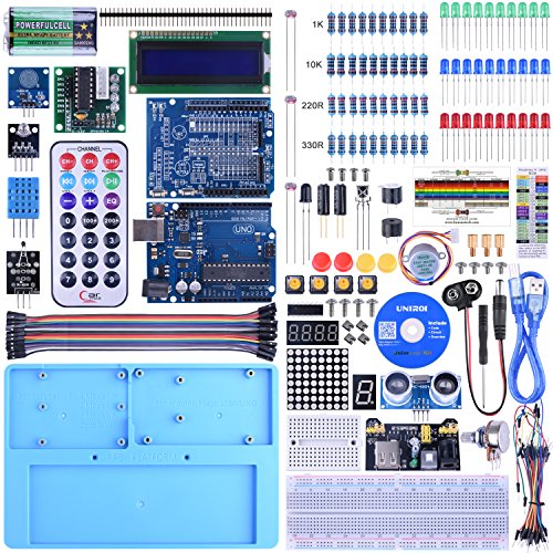 KINCREA UNIROI Starter Kit for Arduino Beginner with Tutorial,Upgraded Project UNOR3 UA005 (Blue)