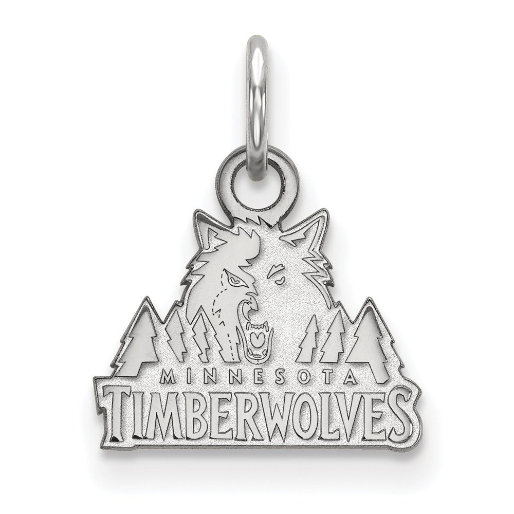 Roy Rose Jewelry 14K White Gold NBA LogoArt Minnesota Timberwolves X-small Pendant / Charm by Roy Rose Jewelry