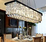 Cheap 7PM W32″ x D10″ Modern Rain Drop Rectangle Clear K9 Crystal Chandelier Pendant Lamp Lighting Fixture 6 Lights for Dining Living Bedroom Room Black Frame