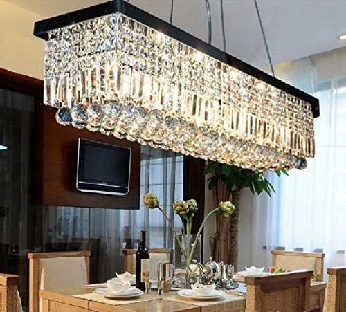 Moooni rectangular clear crystal chandelier lighting modern dining moooni rectangular clear crystal chandelier lighting modern dining room pendant lighting painted black finish l31 aloadofball Gallery