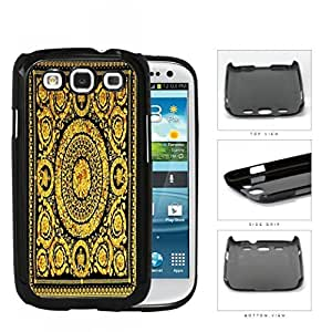 Black And Gold Designer Scarf Pattern Hard Plastic Snap On Cell Phone Case Samsung Galaxy S3 SIII I9300