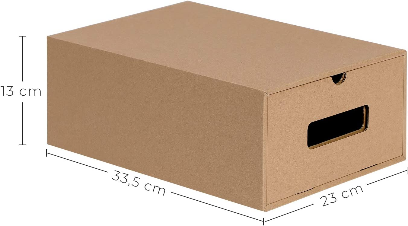 Multiuso e Impilabile SONGMICS Set di 10 Scatole per Scarpe in Cartone Organizzatore Portascarpe a Cassetto 23 x 33.5 x 13 cm Cartone Ondulato Colore Naturale LSP999B01
