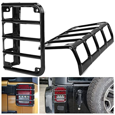 HOZAN Black Steel Rear Tail Light Cover Protector Guard for Jeep Wrangler JK & JK Unlimited Sahara Rubicon 2007-2020: Automotive