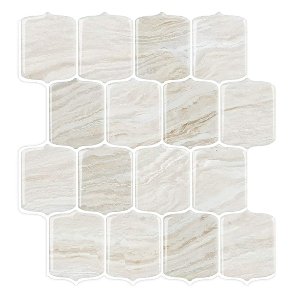 STICKGOO Marble Look Peel and Stick Backsplash Tile, Stick on Tiles for Kitchen Backsplash, Peel and Stick Tile in Shale (Pack of 10, Thicker Design)