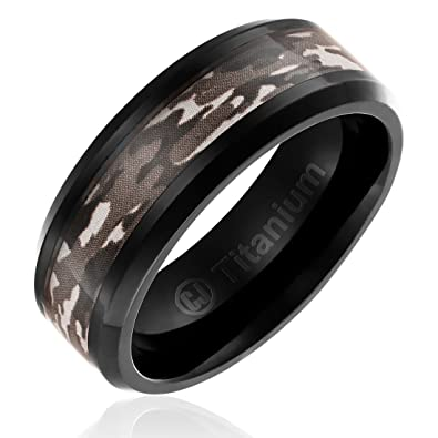 8MM Mens Titanium Camo Wedding Band | Black Plated Ring with Brown ...