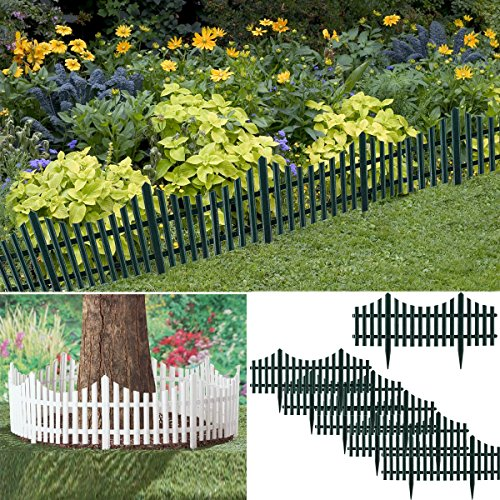 """Archway (6 Pack) Garden 24"""" Plastic Picket Fence Borders Outdoor Herbs Vegetables Edging 12ft"""