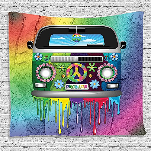 Bedroom Living Room Dorm Elastic fabric Wall Hanging Tapestry Groovy Decor Old Style Hippie Van with Dripping Rainbow Paint Mid 60s Youth Revolution Movement Theme Multi Color