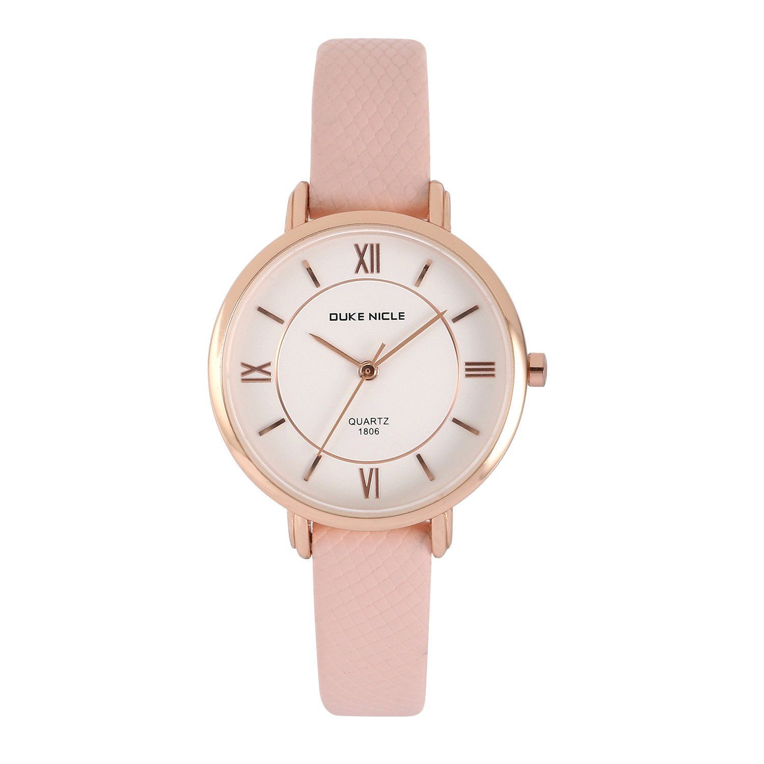 Womens Fashion Watch,Ladies Elegant Casual Waterproof Quartz Roman Numeral Wrist Watches for Girls with Comfortable Genuine Leather Band (Pink)