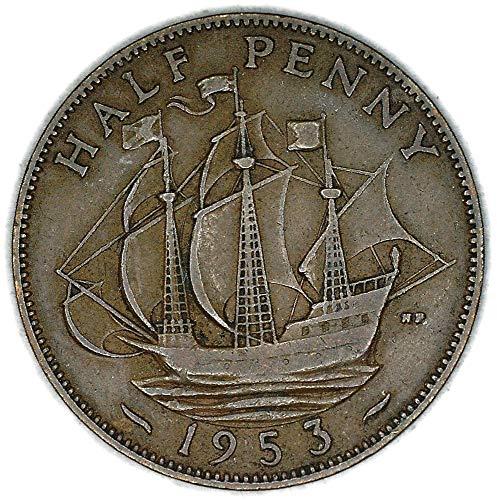 1953 UK Great Britain Elizabeth II Bronze Halfpenny Good