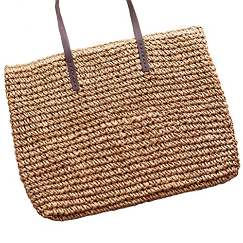 Light HandCasual Bags Tote Hobos Durable SS0294 Rattan Coffee Weave Straw Shoulder Bags Female Kimiyar Bucket Beach Women fw0qqFZ