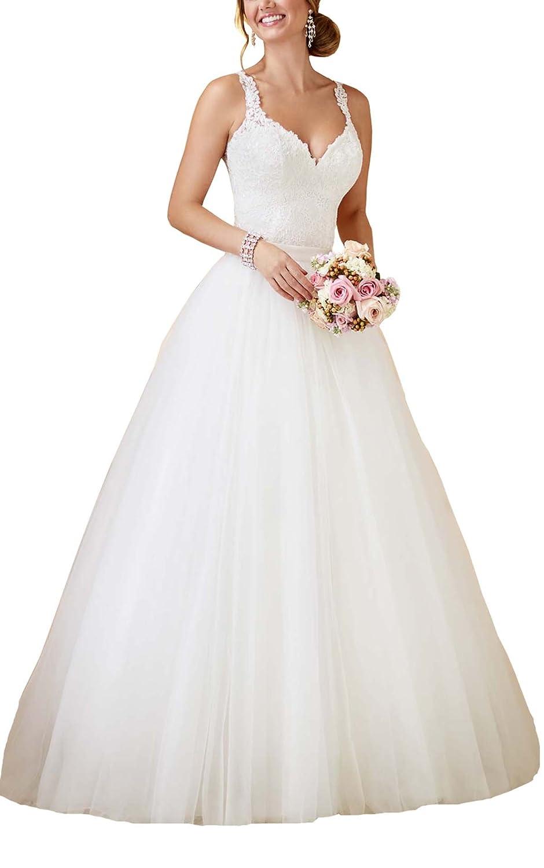 SlenyuBridal Women's Two Pieces Wedding Gown 2018 Detachable Train Bride Dress WXX028