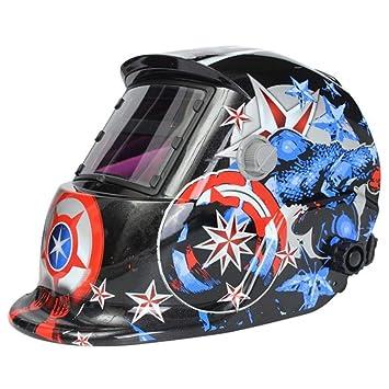 Yongse Solar Máscara de soldador de soldadura eléctrica Patrón Casco de oscurecimiento automático casco de soldadura Capitán América: Amazon.es: Electrónica
