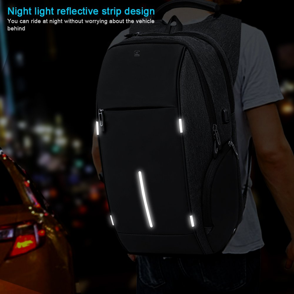 Business Laptop Backpack, HiOrange Travel Anti Theft Computer Backpack with USB Charging Port, Waterproof Night Light Reflective College school bag for Women & Men Fits 15.6 Inch Laptop and Notebook by HiOrange (Image #6)
