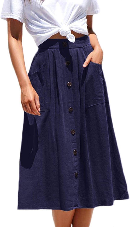 Meyeeka Womens Casual High Waist Flared A-line Skirt Pleated Midi Skirt with Pocket