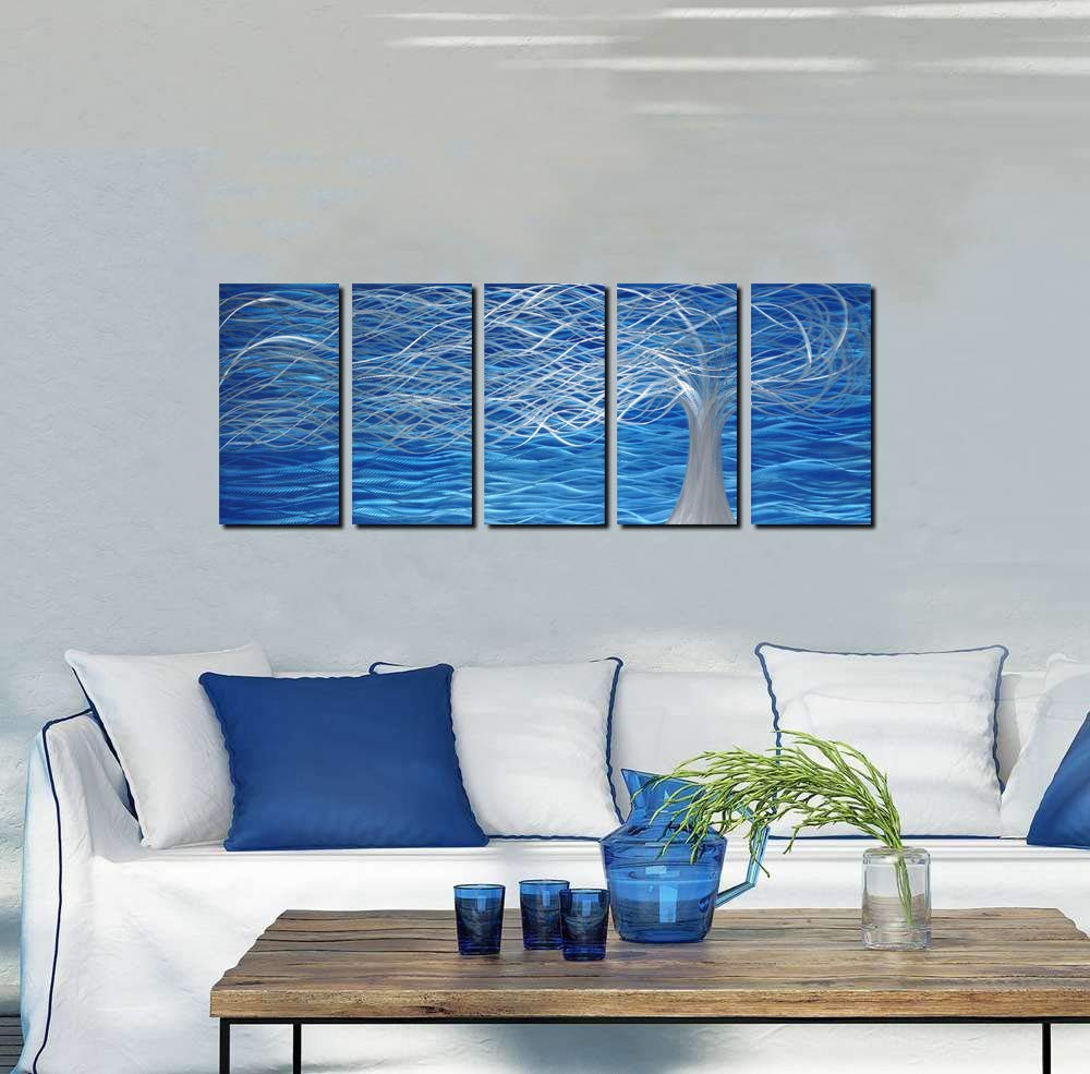 Abstract Modern and Contemporary D/écor Unique Metal Wall Sculpture Aluminum Blue Artwork Metal Wall Art with Tree Painting Design 5 Panels 64 Wx24 H Indoor and Outdoor Decoration