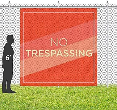 Stripes Blue Wind-Resistant Outdoor Mesh Vinyl Banner No Trespassing 12x3 CGSignLab