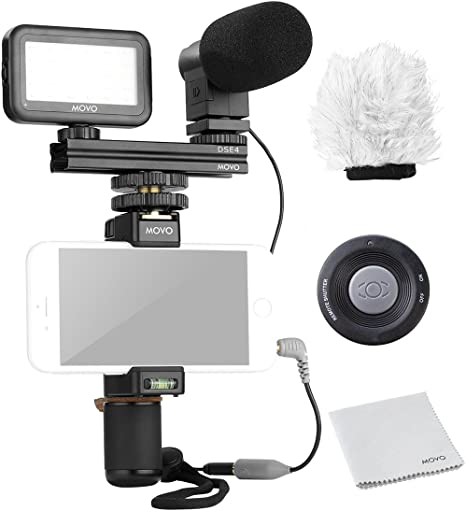 Movo Smartphone Kit de vídeo V6 con agarre Rig, Mini estéreo inalámbrico de micrófono, luz LED
