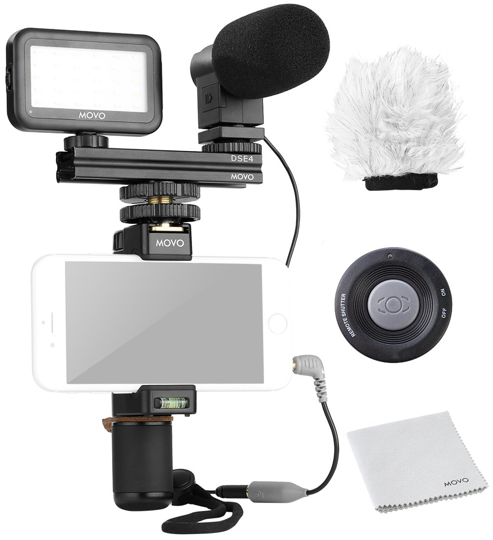 Movo Smartphone Video Kit V6 with Grip Rig, Mini Stereo Microphone, LED Light and Wireless Remote - for iPhone 5, 5C, 5S, 6, 6S, 7, 8, X, XS, XS Max, 11, 11 Pro, Samsung Galaxy Note and More by Movo