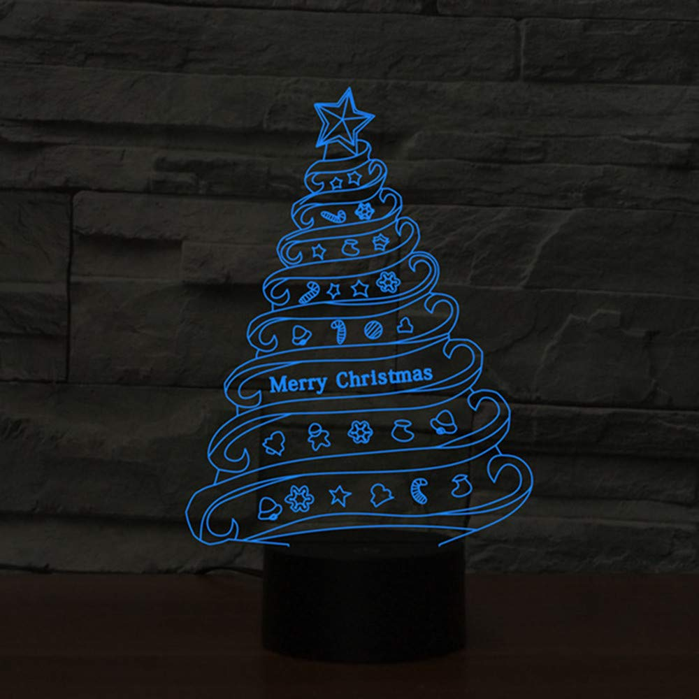 Novelty 3D Table Lamp 3D Christmas Tree Home Decor Night Lights LED USB with 7 Colors Sensor Desk Lamp as Holiday Gifts
