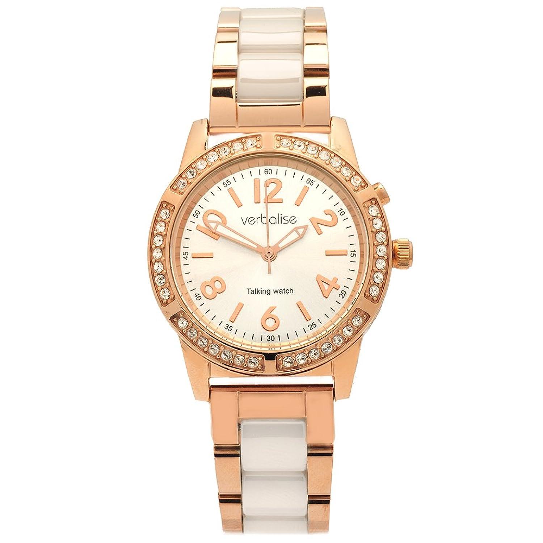 Verbalise Damen Rose Gold Sprechende Armbanduhr mit Swarovski-Kristallen