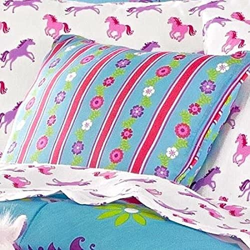Girls Turquoise Blue Pink STRIPE FLORAL PONY HORSE PILLOW 16 X 16