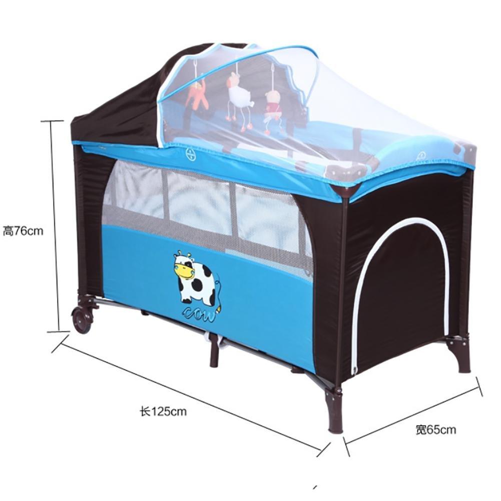 YINGER Krippe Multifunktionale Kinderbetten Spiel Portable Faltung Krippe Mit Moskitonetzen Baby-Reisebett Mode-Design Baby-Produkte Spielen Yard Neue Baby-Laufstall
