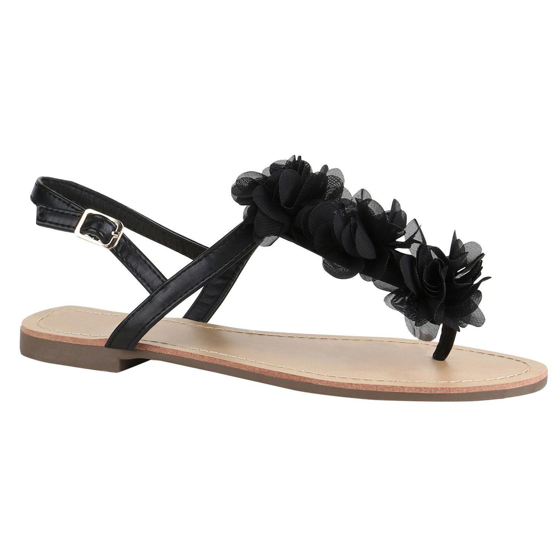 Stiefelparadies Damen Sandalen Zehentrenner mit Blockabsatz Flandell  37 EU|Schwarz Camargo