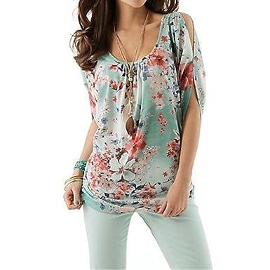 f16ce3390b3eb5 Aniywn Ladies Autumn Boho Broken Floral Print Off Shoulder Round Neck Half Sleeve  Shirt  Clothing