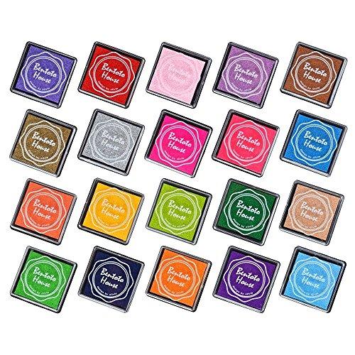 KEEKA 20x Bunte Stempelkissen-Set mit Mini-Stempel Fingerfarbe Ungiftig und Waschbar