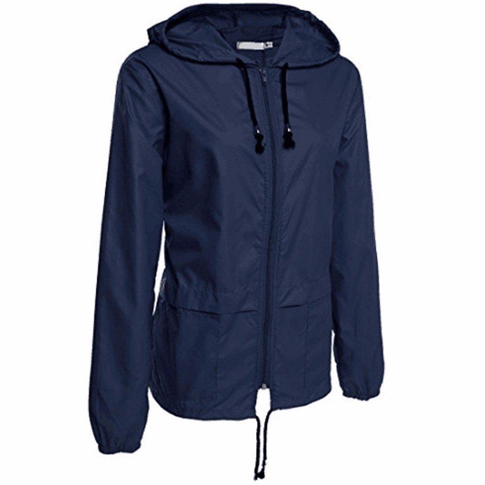 UONQD Women Rain Jacket Outdoor Packable Waterproof Hooded Raincoat (X-Large,Navy)