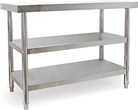 WilTec Mesa Trabajo Acero Inoxidable con 2 baldas Inferiores 120x60cm Altura Regulable Hostelería Gastro: Amazon.es: Oficina y papelería