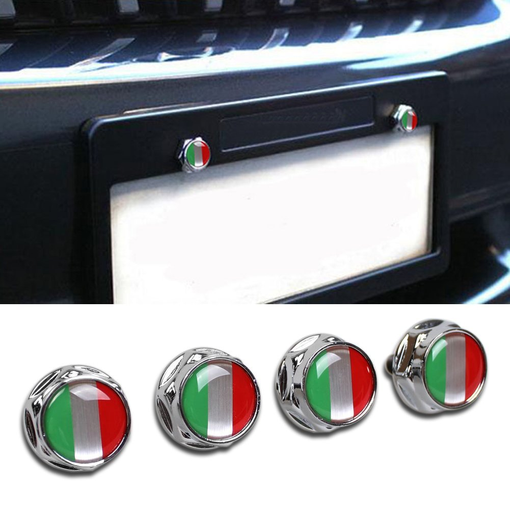 Beautost Racing Sports Italy Italian Flag Car Emblem License Plate Frame Screw Bolt Fastener Bolts YONGCHENG automobile supplies factory