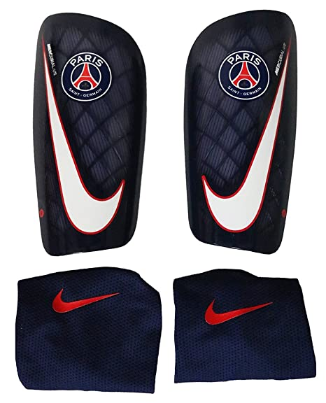 timeless design innovative design on feet images of Nike Paris Saint Germain Mercurial Lite Shin Pads, dark blue ...