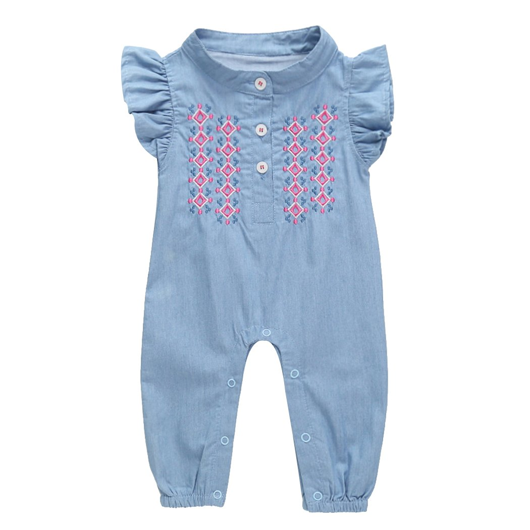 MIOIM Newborn Infant Toddler Baby Girls Ruffled Butterfly Sleeves Romper Embroidered Bodysuit Jumpsuit