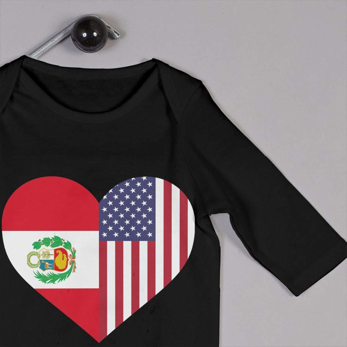 LBJQ8 Peru Flag Half America Flag Half Heart Shaped Baby Infant Girls Soft /& Breathable Bodysuit Sleepwear