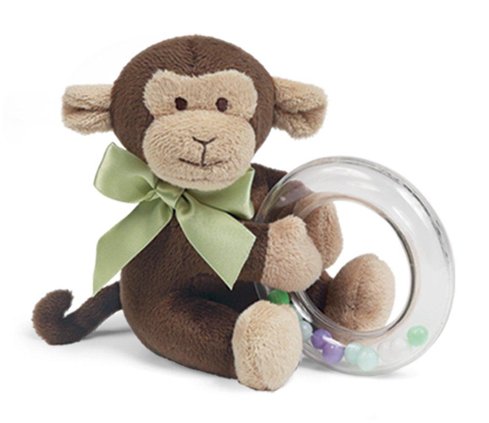 Bearington Baby Giggles Plush Stuffed Animal Monkey Shaker Toy Ring Rattle 5 Bearington Collection