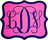 Custom Embroidered Vine Font Name Initial Monogram Iron-On - Sew-On Applique Patch (Pink Twill Fabric, 6'' Wide by 5'' high)