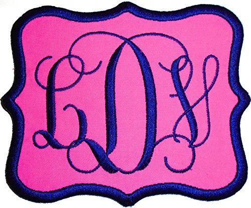 Custom Embroidered Vine Font Name Initial Monogram Iron-On - Sew-On Applique Patch (Pink Twill Fabric, 6'' Wide by 5'' high) by CREANGIETION
