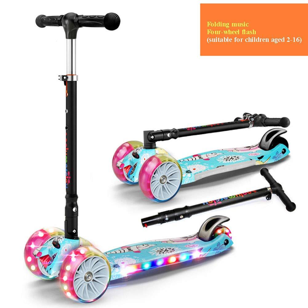 estilo clásico YUANLAISHINI Scooter Scooter Scooter para niños, desmontaje Plegable Scooter para niños, con música, 4 Alturas Ajustables, Rueda de Destello de PU, Adecuado para bebés de 2-16 años, Soporte de 100 kg,A2  marca de lujo
